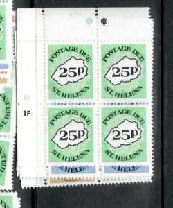 ST HELENA  (PP1305B)  POSTAGE DUE  SC J1-6  UL PLATE  BL OF 4    MNH