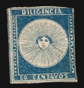 Uruguay 1856 60c Diligencia #1 MNG VF two wide margins W/CERTIFICATE