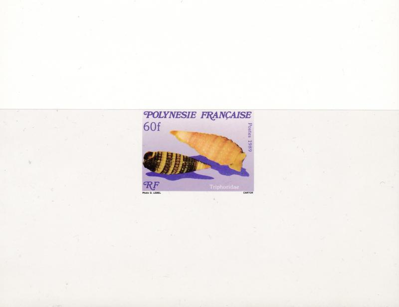 French Polynesia 1989 Sea Shells Set Complete (3) PROOFS on large hard card XF