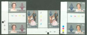 Great Britain-Isle Man # 96-98 QE II Reign GUTTER PAIRS (3) NH