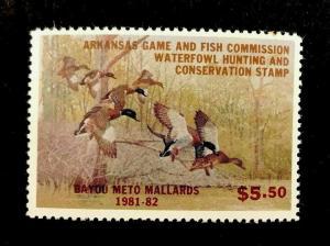 AR1 1981 Arkansas 1st State Duck Stamp-(LeBlanc) OGNH-EBAY LOW--OFFER?