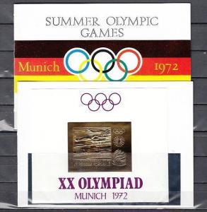 Ras Al Khaima, Mi cat. 391, BL87. Olympics Gold Foil s/sheet, Souvenir Folder. *