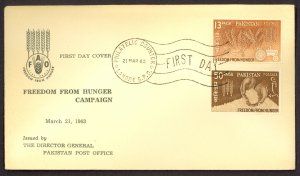 PAKISTAN 1963 FREEDOM FROM HUNGER Set Sc 176-177 on U/A Cachet FDC