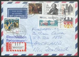 GERMANY 1988 Registered airmail cover to New Zealand - nice franking.......11264