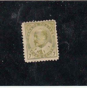 CANADA (MK6860) # 92  FVF-MH 7cts 1903 KING EDWARD VII /OLIVE-BISTRE CV $200