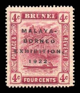 Brunei 1922 MALAYA BORNEO EX. 4c claret SG 54 mint