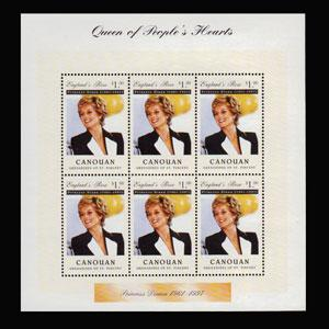 ST.VINCENT-CANOUAN 1997 - Scott# 1A Sheet-Diana Death NH