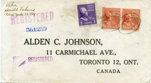 U.S. Scott 815  and 807 Prexies/Prexys on Registered Cover to Canada