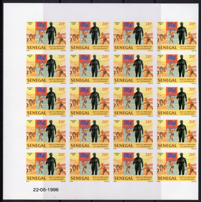 Senegal 1996 Sc#1213 Cent.Olympic Committee Block of 20 IMPERFORATED MNH