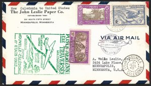 Doyle's_Stamps: Sharp PanAm Clipper First Flight Cover New Caledonia to USA