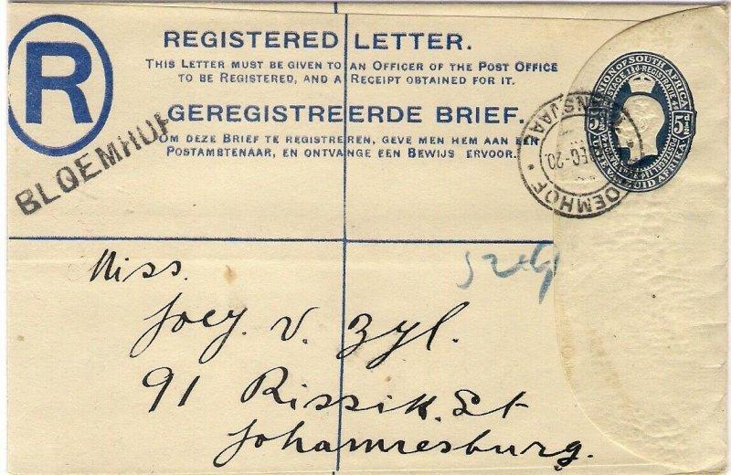 1920 South Africa 5½d Registered Postal Stationery Envelope BLOEMHOF to Joburg