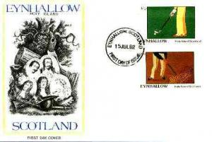 Eynhallow 1982 Golf imperf set of 2 on cover with first d...