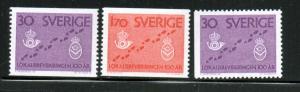 Sweden Sc 607-9 1962 Mail Delivery stamp set mint NH