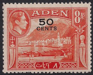 Aden 1951 KGV1 50 cents on 8 Annas Umm SG 41 ( H954 )