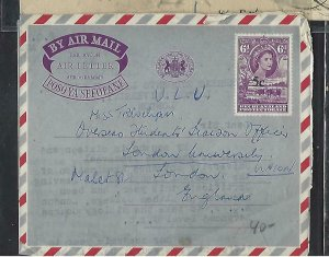 BECHUANALAND  COVER (P1211B) 1961 QEII AEROGRAM 5C/6D COW FRANCISTOWN TO UK