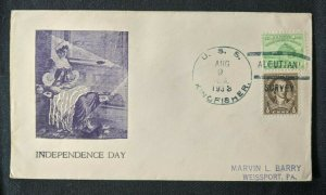 1938 USS Kingfish Submarine US Navy Cover Aleutian Survey Weissport PA