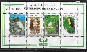 Honduras #C1053  Endangered Birds (MNH) sheet of 4  CV $9.00