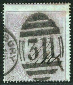 GB QV Postal Fiscal SG.F12 1d Lilac (1864) Used GLASTONBURY *311* Duplex ORED73