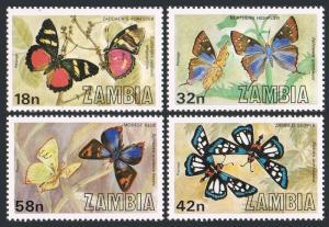 Zambia 220-223,223a sheet,MNH.Michel 229-232,Bl.10. Butterflies 1980.
