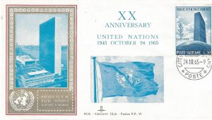 Vatican City Cover Commemorating 20th Anniversary of UN, Rare.  Only 50 Made.