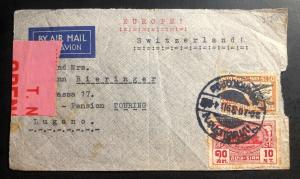 1939 Bangkok Thailand Censored Airmail WW2 cover to Lugano Switzerland