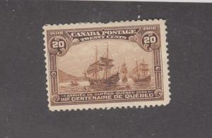 CANADA # 107 VF-MH 20cts QUEBEC TERCENTENARY (Creased) CAT VALUE $400