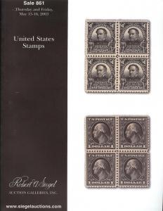Siegel: Sale # 861  -  United States Stamps, Siegel 861