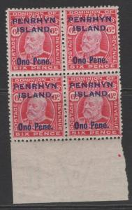 PENRHYN ISLAND SG22 1914 6d CARMINE MNH BLOCK OF 4