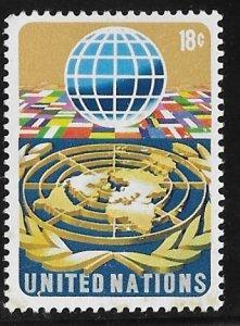 UN-NY # 251  18c Globe & Flags    (1)  Mint NH