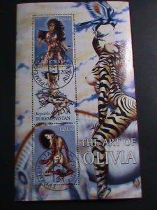TURKMENISTAN-STAMP -2001-THE ART OF OLIVIA CTO STAMP:MINI SHEET RARE #2