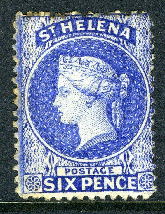ST HELENA-1864-80 6d Ultramarine.  A mounted mint example Sg 16a