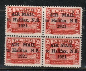Newfoundland #C3 #C3b #C3f #C3h Very Fine Mint Block With Four Types Of Ovrpts