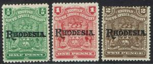 RHODESIA 1909 OVERPRINTED ARMS 1/2D 1D AND 2D