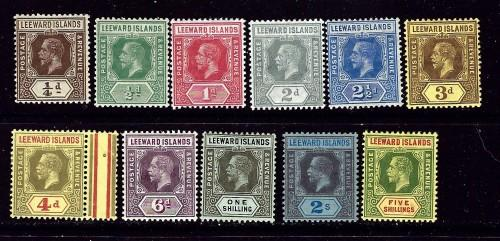 Leeward Is 46-55 and 57 Hinged 1912-22 Partial set missing 56