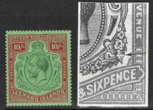 LEEWARD ISLANDS SG79f 1928 10/= GREEN & RED DAMAGED LEAF BOTTOM RIGHT MTD MINT