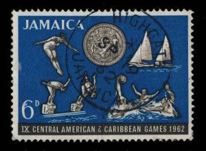 JAMAICA - 1962  HIGHGATE / JAMAICA  SINGLE CIRCLE DATE STAMP ON SG 198