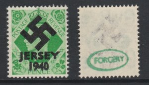 Jersey 1940 Swastika opt on Great Britain KG6 7d emerald-green