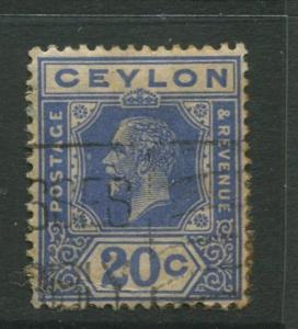 Ceylon #237  Used  1921  Single 20c Stamp
