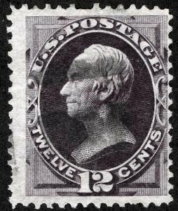 US Sc 151 Dull Violet 12¢ Blk Cork Cancel *MPLots
