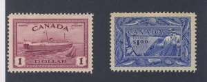 2x Canada $1.00 Mint Stamps; #273 Train Ferry & #302-Fish Guide Value = $105.00