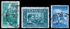 Romania Scott 395, 403, 416 (1931-32) Used H F, CV $5.35 B