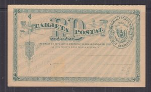 DOMINICAN REPUBLIC, POSTAL CARD with Reply attached, 1898 2c. Green, unused.