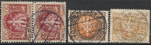POLAND 1921-23 Eagle Issue, 3 Diff. Used Complete Town Cancels, postmarks, VF