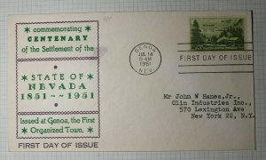 US FDC Sc# 999 Genoa NV 1951 Local Cachet Commenorating Centenary State of NV