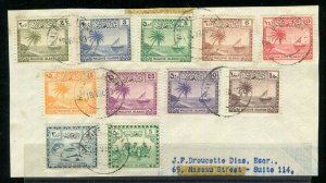 Maldive Islands 1933 Scott 20 - 28 + 21-22 Set Used On Piece 1953 Maldine Is CDS
