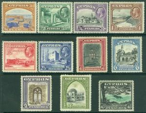 EDW1949SELL : CYPRUS 1934 Scott #125-35 Very Fine, Mint Original Gum Cat $217.00