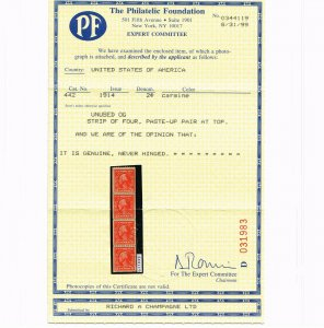 EXCEPTIONAL GENUINE SCOTT #442 MINT OG NH COIL PASTE-UP STRIP OF 4 PF CERT