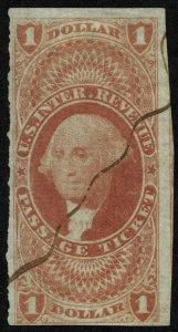 rs0013 U.S. Revenue Scott R74a $1 Passage Ticket imperf SCV = $350