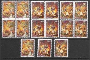 French Polynesia 1027-9 MNH set x 5 ea.,. vf see desc. 2020 CV$47.50