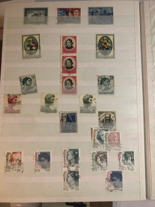 Black Stock Book Full of International Stamps - Italy -Germany- St Lucia & More